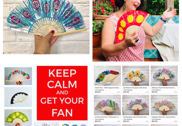 Hand Painted Hand Fans - Choose One from a Great Variety of Beautiful Styles - Handfan, Gift for Her, Gift for Mom, Fun and Stylish Accessory