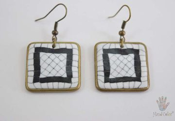 Portuguese Cobblestone Squared Earrings - BQDC-1-28