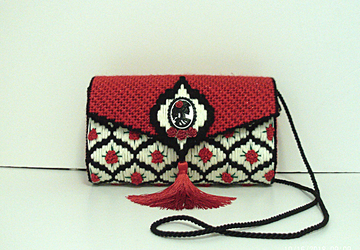 Red,Black and White large clutch