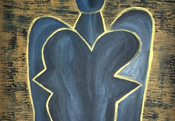 Abstract Angel Painting - Abstract Figurative Painting - Large Painting - Blue Angel - Home Decor - Spiritual Art - Poetry Art