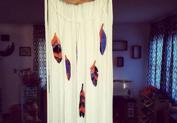 OOAK Hand Made Dreamcatcher Wall hanging with Stained Glass Feathers