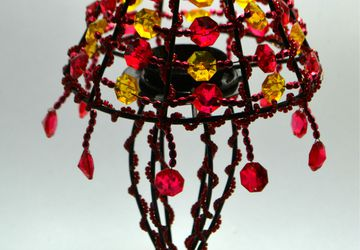 Red Yellow Beaded Tealight Lamp Shade, Beaded Candle Holder, Red Decor, Beaded Home Decor, Tealight Candle Holder, Decorative Lamp Shade