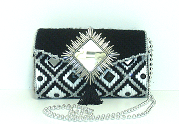 Black,Sliver and White Jeweled clutch/evening bag