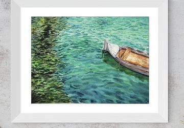 Watercolor Boat on water wall art, original interior decor, water painting