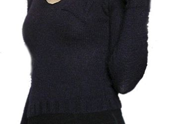 A knitted deep-blue sweater