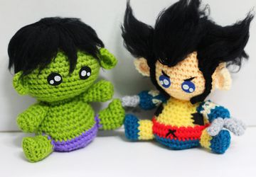 Hulk Wolverine Marvel character Chibi Plushie Amigurumi Stuffed Toy Doll Handmade Softies Gift Baby Crochet Knit Inspired Plush Cosplay