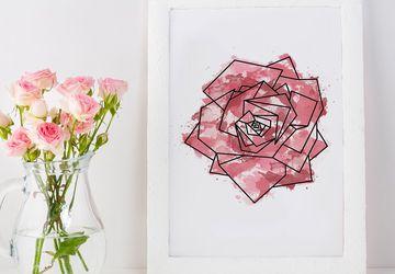 Red rose print, rose print