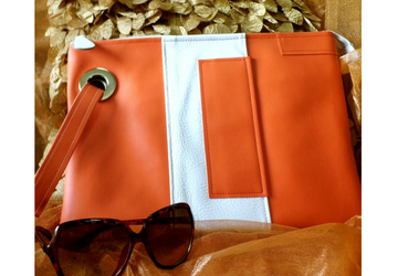 SOLD-Orange Clutch Purse, Vegan Leather Clutch, Envelope clutch purse, Faux leather wristlet