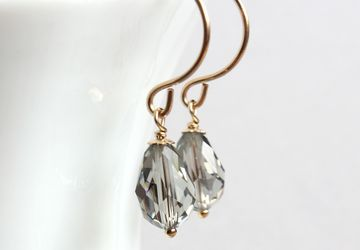 Swarovski Drop Earrings Gold Filled Jewelry Gray Swarovsky Earrings Crystal Jewellery Gifts For Women  Swarovski Crystal Jewelry