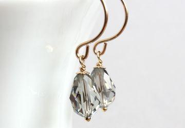 Swarovski Drop Earrings Gold Filled Jewelry Gray Swarovsky Earrings Crystal Jewellery Gifts For Women  Swarovski Crystal Jewelry