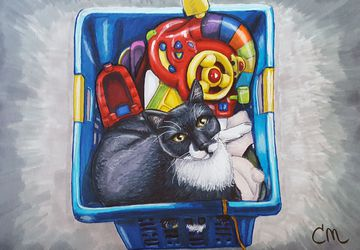 """7x10 Stylized Hand-drawn Art Print """"Cat in a Box"""" 