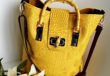 SOLD - Yellow tote bag, Faux crocodile bag, Oversized handbag, Womens summer bag, Bamboo handle bag, Vegan leather tote, Ladies work bag