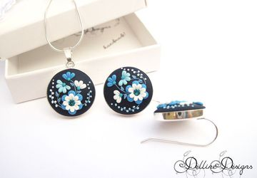 Midnight * Unique Polymer Clay Set * Sterling Silver Earrings and Pendant * Floral Filigree Set * Spring Jewelry * Applique * Floral