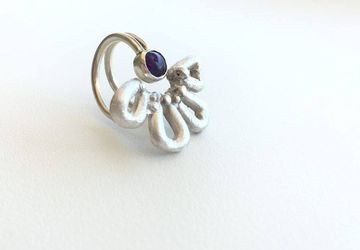 Amethyst flower sterling ring