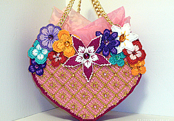 Pink.gold and cranberry heart shaped jeweled tote bag