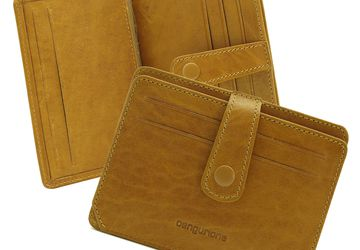 Leather handmade cardholder Cangurione 3318-014 Melisa Yellow