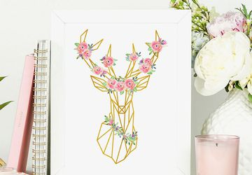 Deer head, gold floral deer