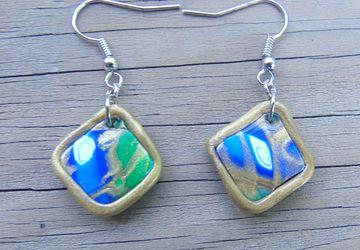 Artsy Pattern Polymer Clay Dangle Earrings
