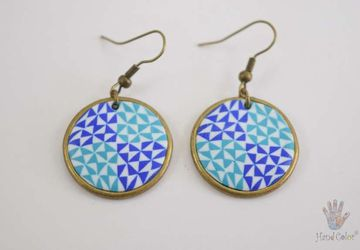 Portuguese Ceramic Tiles Round Earrings - BCDA-2-62