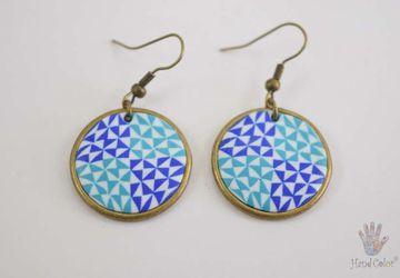 Portuguese Ceramic Tiles Round Earrings - BCDA-2-62