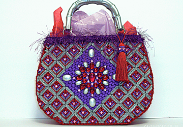 Red,Purple and Sliver Jeweled large tote bag