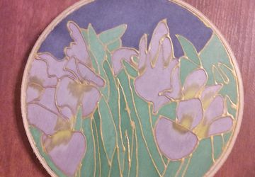Iris Garden Painting on Silk measuring 6 inches