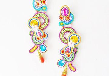 Statement big earrings, Brazil earrings, Soutache Earrings, exotic earrings, colorful earrings, Frida Kahlo inspired, textile earrings