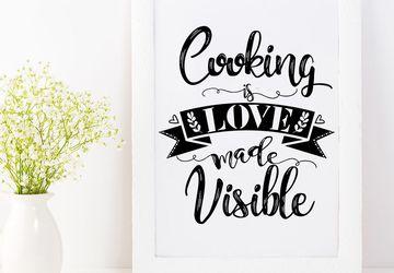 Black and white kitchen printable quote.