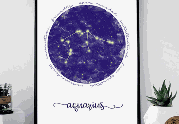 Aquarius zodiac sign printable wall art