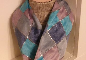 Cool Tones Diamond Silk Painted Circle Scarf