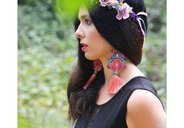 Extra long tassels earrings | Oversized pink purple violet | Multicolored boho festival | Soutache
