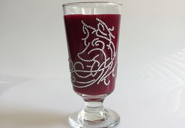 Handmade decorative footed short highball glass
