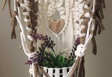Suporte flores Entrançado Macramé