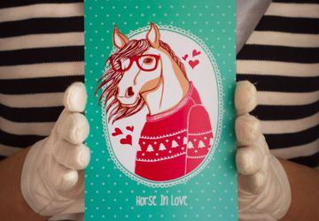 "Postcard ""Horse in Love"""
