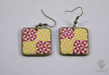 Portuguese Ceramic Tiles Squared Earrings - BQDA-2-63