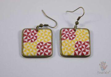 Portuguese Ceramic Tiles Squared Earrings - BQDA-2-63