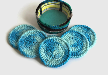 Blue Crochet Coaster Set with Holder