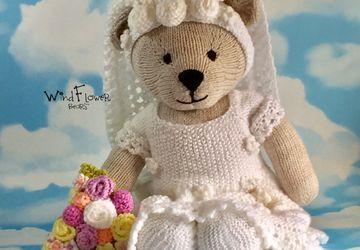 Hand knitted one of a kind teddy bear - Bartsia.