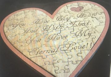 heart puzzle with love message