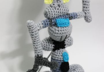 Johnny 5 robot Short Circuit 1986 film Chibi Plushie Amigurumi Stuffed Toy Doll Handmade Softies Gift Baby Crochet Knit Inspired Plush