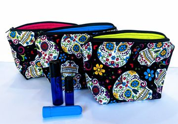 Black Sugar Skull Essential Oil Bag