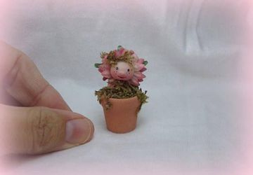 Ooak miniature flowerpot for Dollhouse 1:12 scale made of Prosculpt