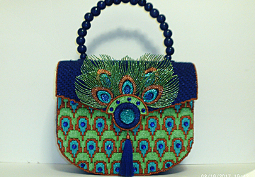 Unique and exotic Royal Blue and Green Large Peacock Handbag