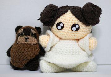 Princess Leia Ewok Star Wars Chibi Plushie Amigurumi Stuffed Toy Doll Handmade Softies Gift Baby Crochet Knit Inspired Plush Characters