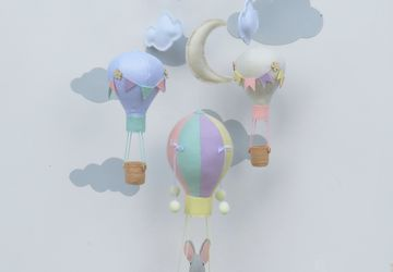 BABY MOBILE ELEPHANT IN HOT AIR BALLOON/ELEPHANT MOBILE/NURSERY DECOR BALLOONS/BABY SHOWER GIFT