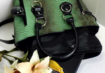SOLD - Faux Reptile Green Tote Bag with Matching Pouch