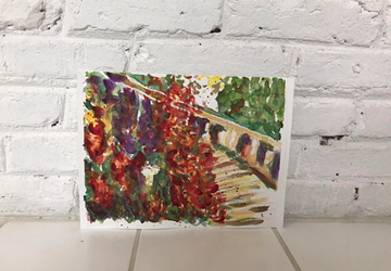 Original Watercolor Painting- Garden Steps