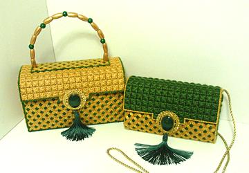 Gold & Emerald Green Handbag & Clutch set