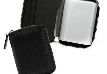 Leather cardholder with decorative plaiting and a zipper Cangurione 3306-001 DP Black