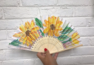 Sunflowers Hand Painted Hand Fan